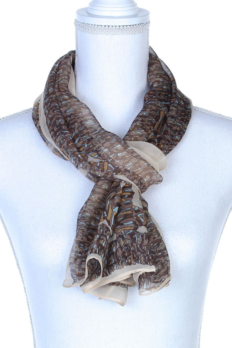 Colorful Pattern Oblong Scarf Beige