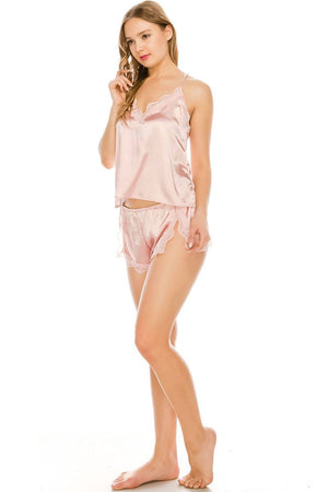 Satin Pj Short Set Pink