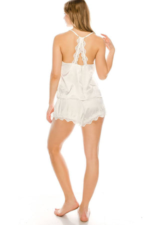 Satin Pj Short Set White