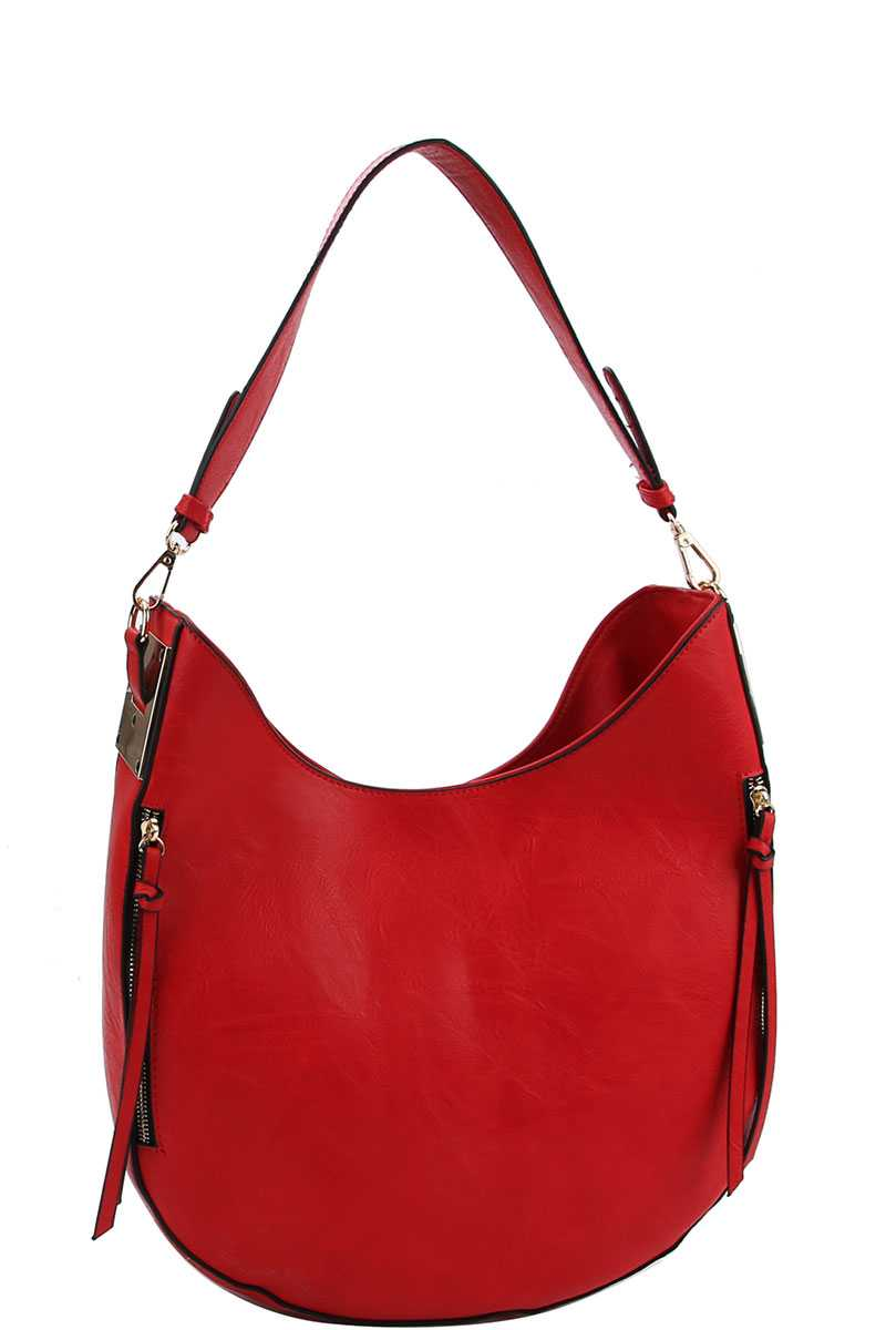 Fashion Chic Trendy Hobo Bag With Long Strap Red