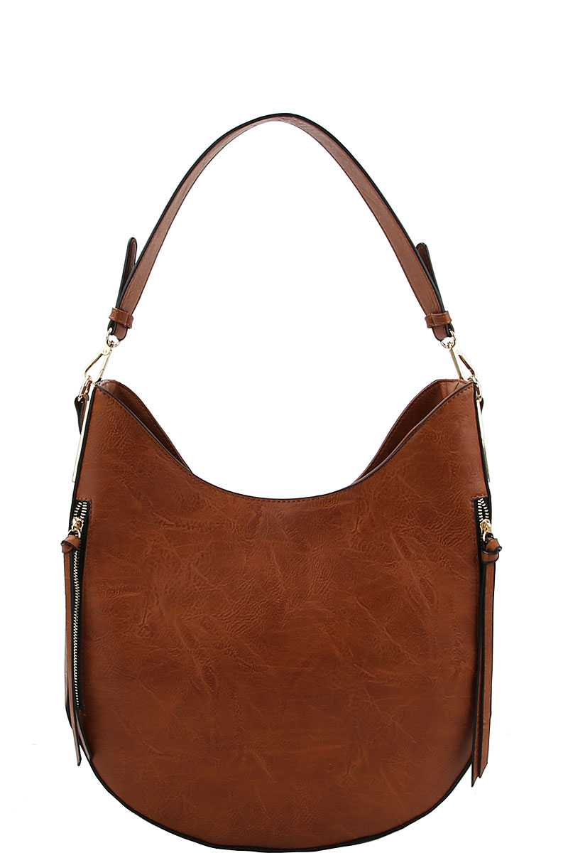 Fashion Chic Trendy Hobo Bag With Long Strap Cognac