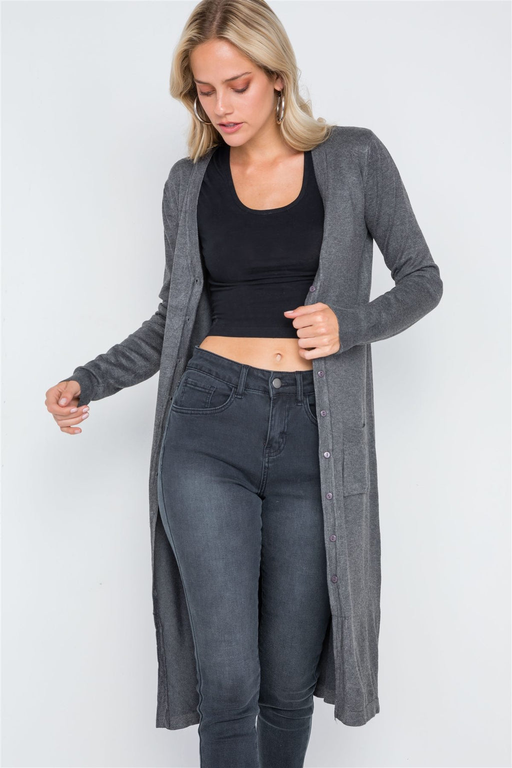 Button Front Long Line Cardigan M