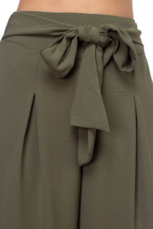 Belted Pleated Palazzo Pants Dark Rust