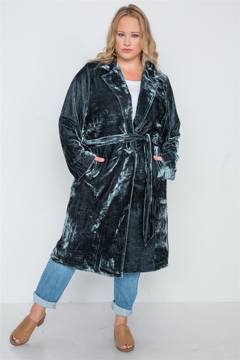Plus Size Velvet Long Sleeve Trench Coat Black