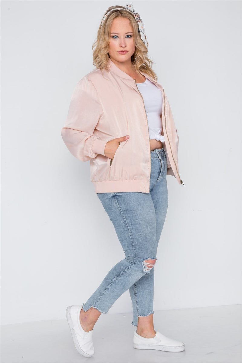 Plus Size Pink Maple Sugar Light Bomber Jacket 1XL