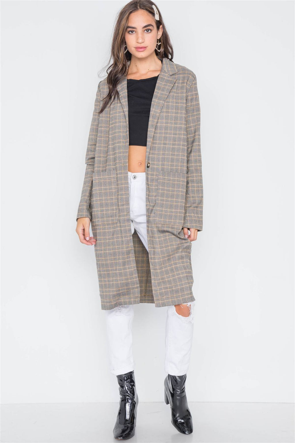 Bark Plaid Single Button Long Sleeve Blazer S