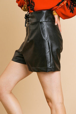 Vegan Leather High Waist Shorts With Pockets And Lace Up Waist Black