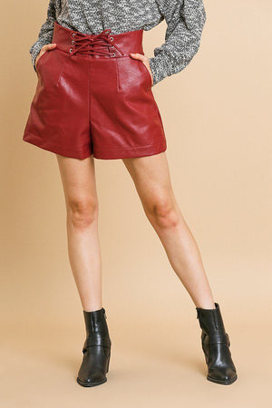 Vegan Leather High Waist Shorts With Pockets And Lace Up Waist Crimson