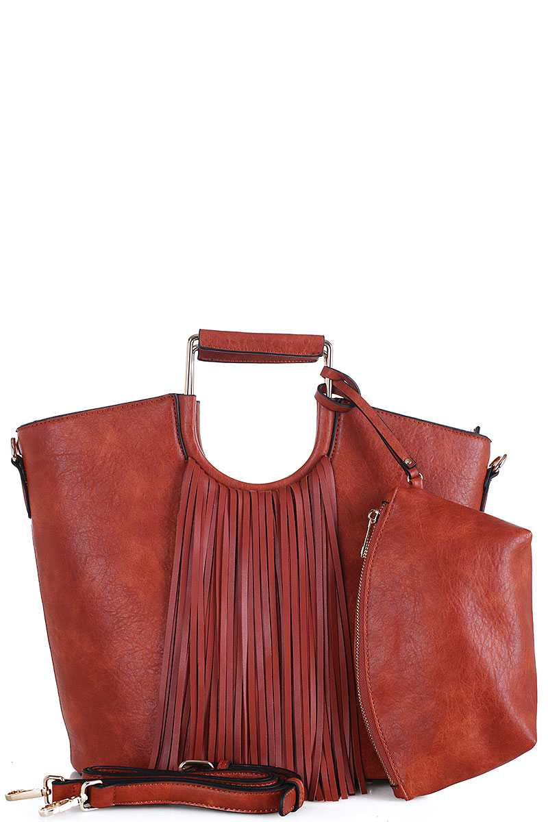 2in1 Stylish Tassel Fringe Satchel With Long Strap Brown Red