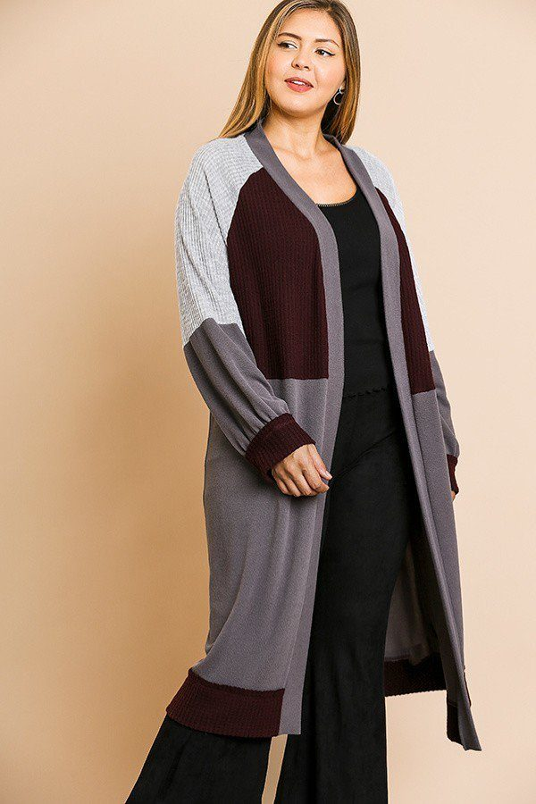 Colorblocked Long Puff Sleeve Ribbed Knit Long Open Front Sweater Cardigan Charcoal/Wine