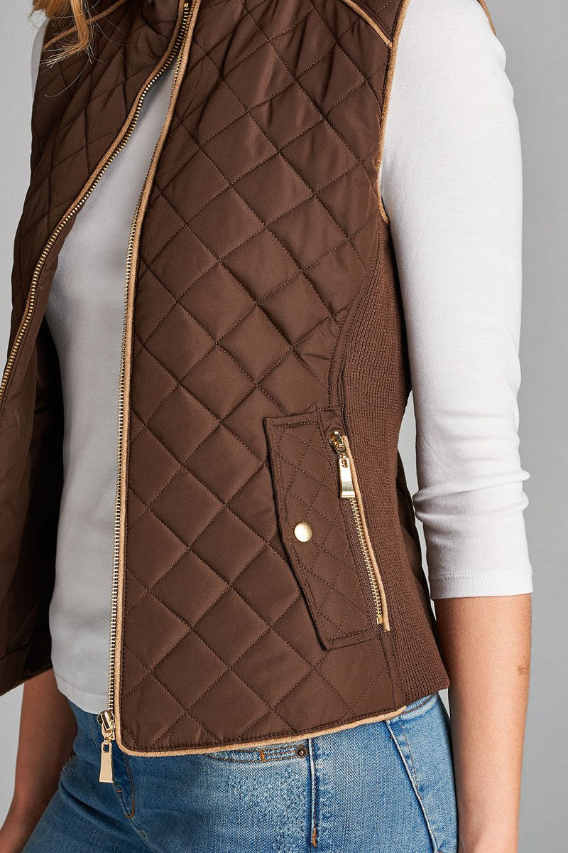 Quilted Padding Vest With Suede Piping Details Red