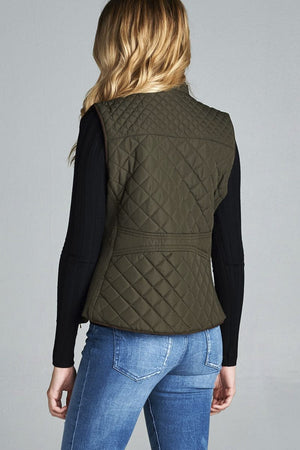 Quilted Padding Vest With Suede Piping Details Dark Mustard
