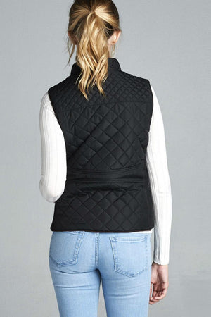 Quilted Padding Vest With Suede Piping Details Burgundy