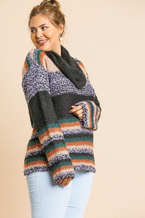 Multicolor Striped Fuzzy Knit Sweater Charcoal Oatmeal