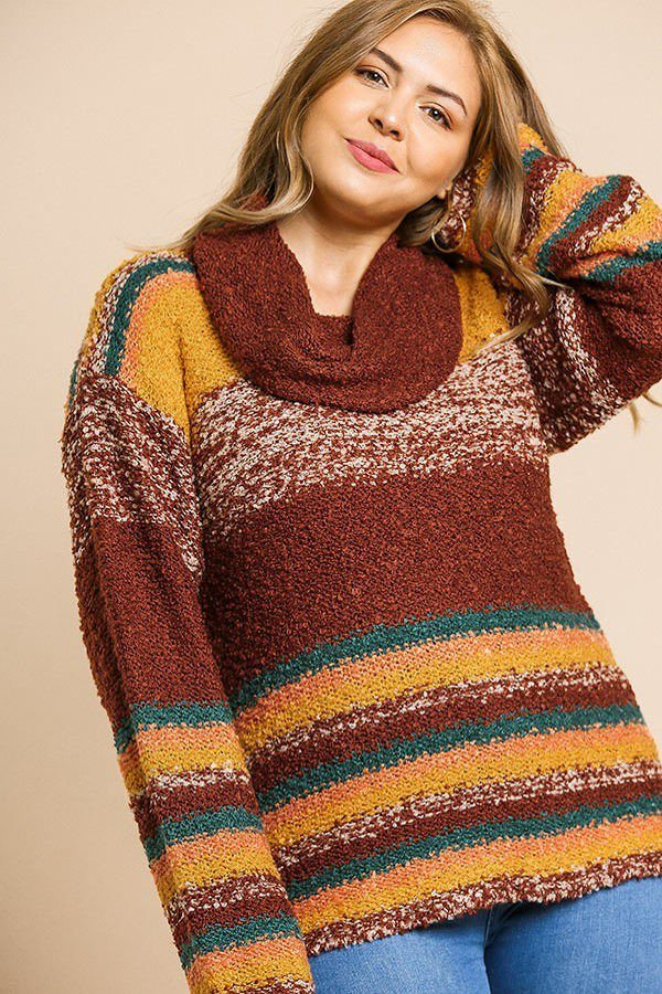Multicolor Striped Fuzzy Knit Sweater