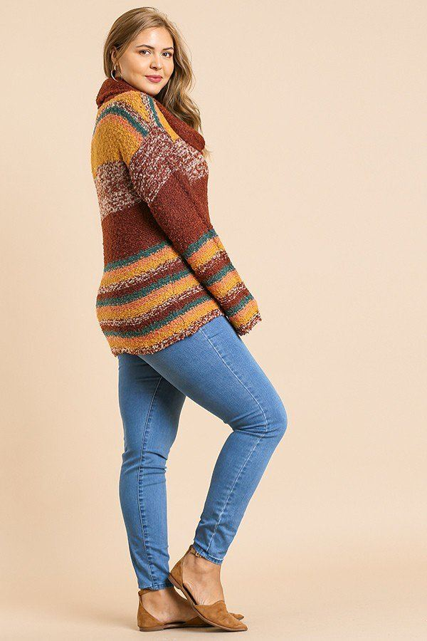 Multicolor Striped Fuzzy Knit Sweater Coral/Brown