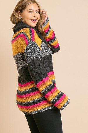 Multicolor Striped Fuzzy Knit Sweater Ash Pink