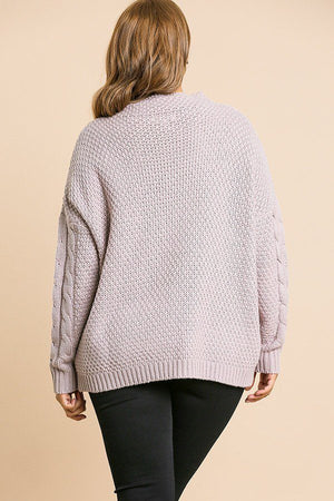 Cable Knit Mock Neck Pullover Sweater Light Mauve