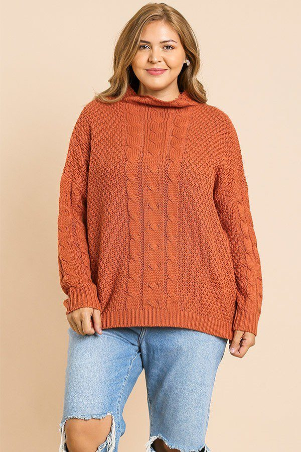 Cable Knit Mock Neck Pullover Sweater Sunset