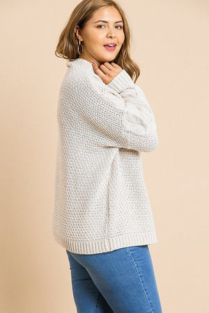 Cable Knit Mock Neck Pullover Sweater Pink Mix