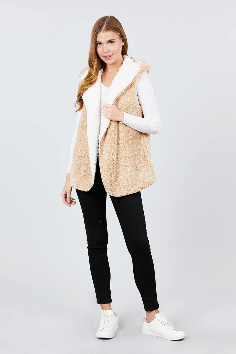 Open Front With Hoodie Faux Fur Reversible Vest White/Taupe