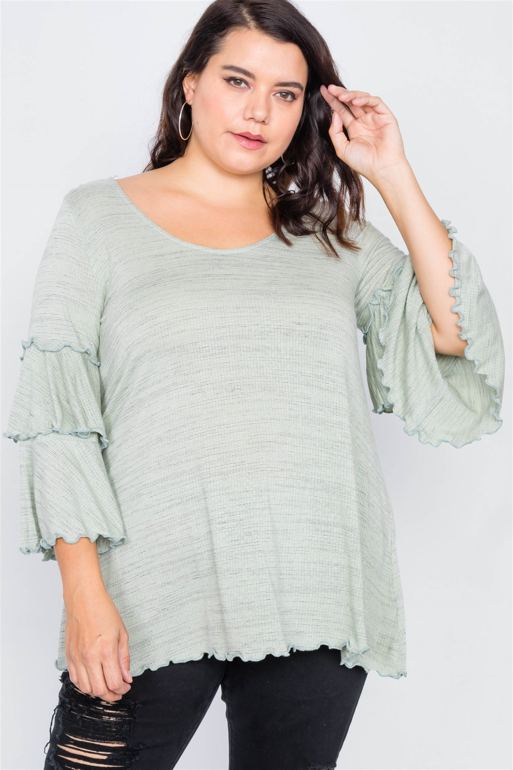 Tiered Ruffle Bell Sleeve Scoop Neck Top Sage