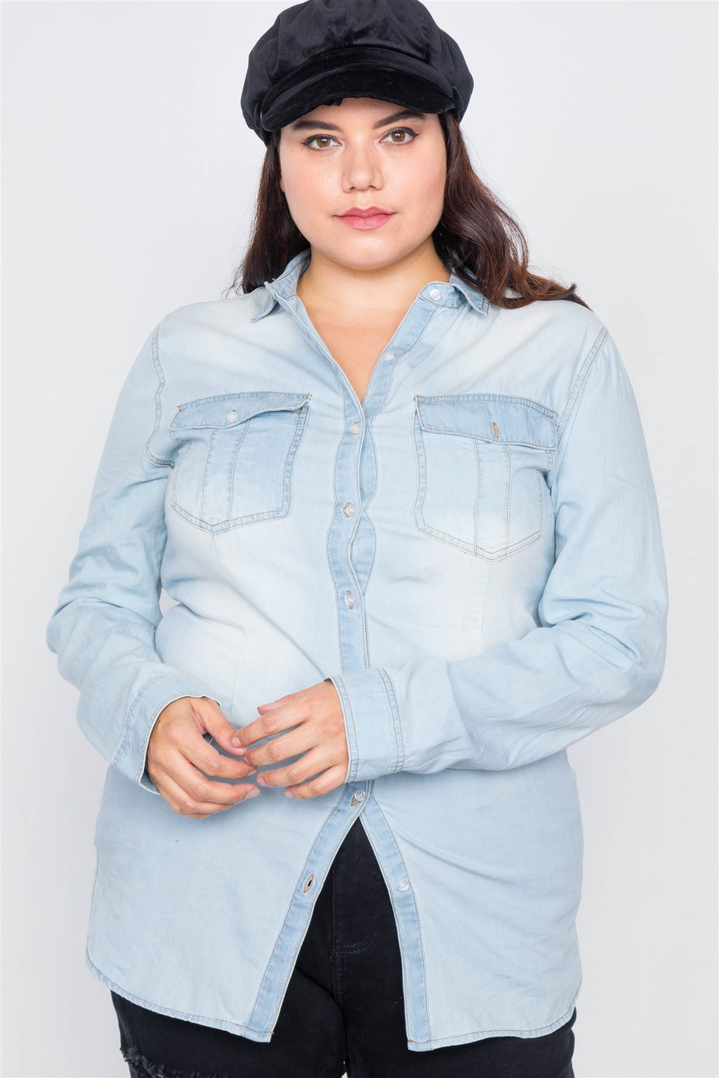 Light Wash Denim Button Down Long Sleeve Top X-Large