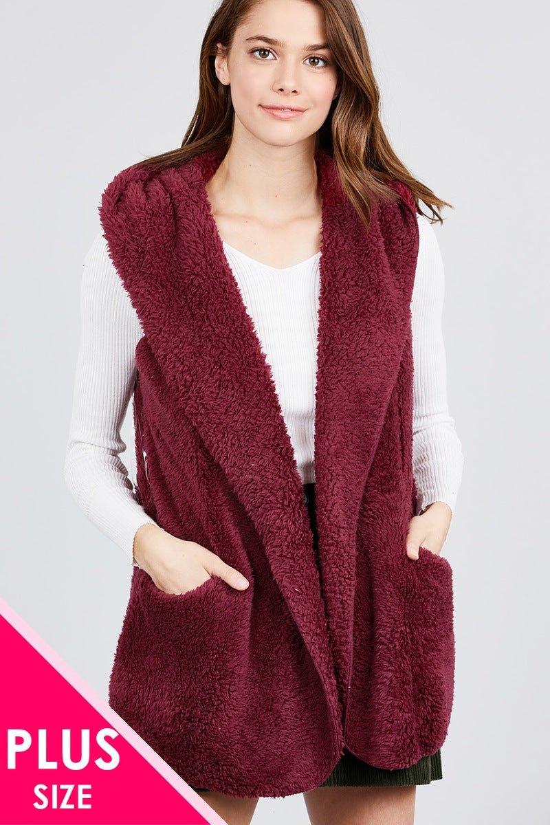 Open Front With Hoodie Faux Fur Vest Burgundy
