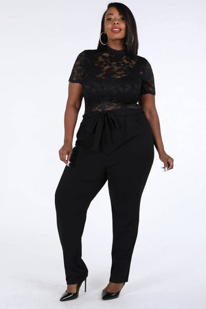Lace Contrast Jumpsuit Black