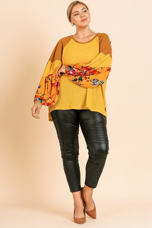 Floral Print Long Puff Sleeve Round Neck Waffle Knit Top Mustard