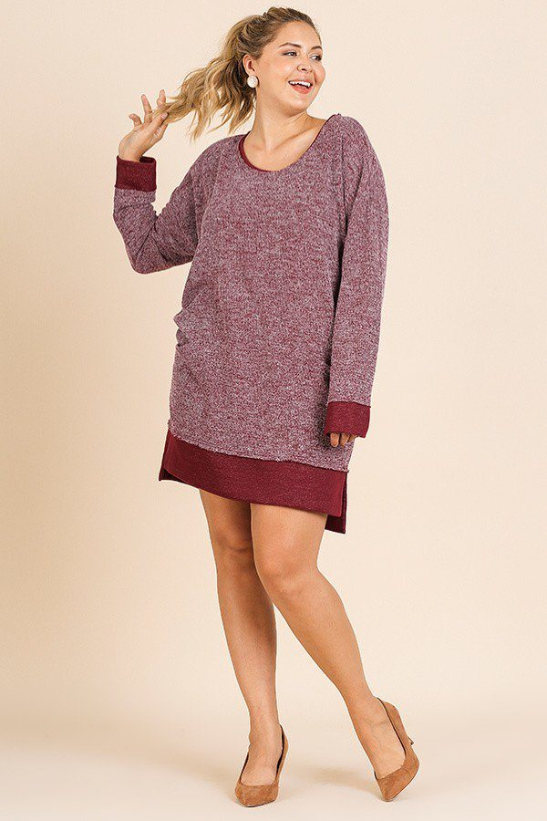Heathered Knit Long Sleeve Round Neck Dress Wine