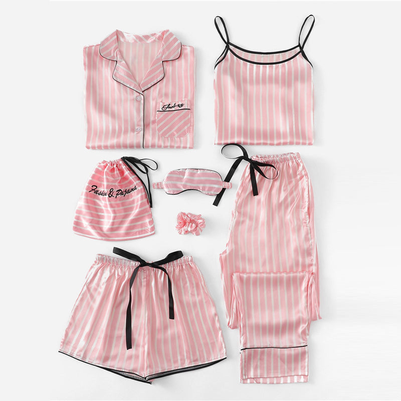 7 Piece Embroidered Striped Pajama Set