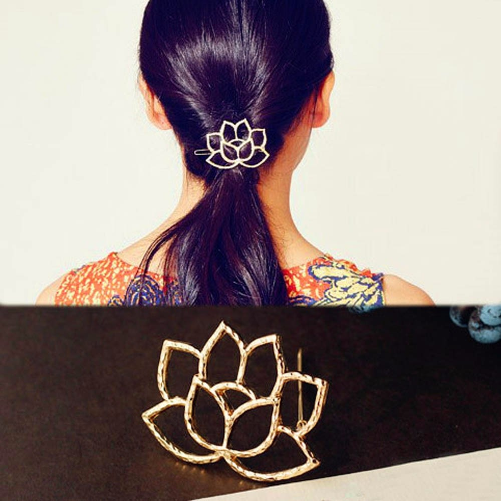 Free + Shipping Beautiful Namaste Lotus Hair Clips
