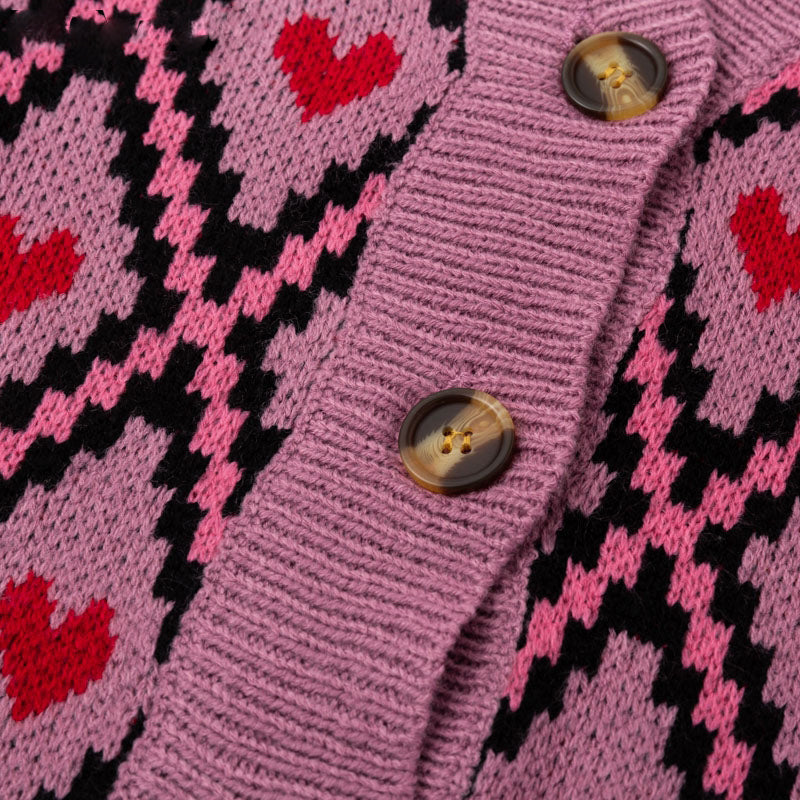 Hearts and Diamonds Oversized Cardigan Sweater