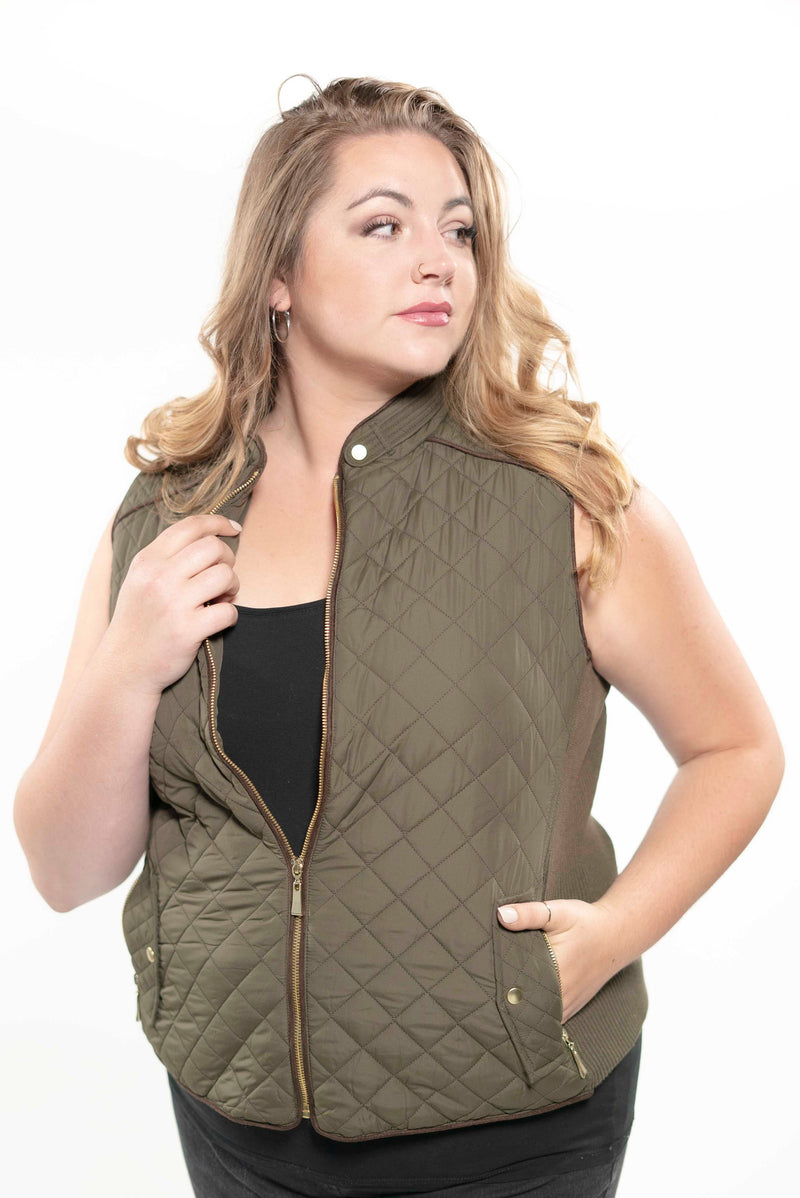 Quilted Padding Vest With Suede Piping Details Olive