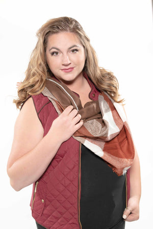 Quilted Padding Vest With Suede Piping Details New Camel