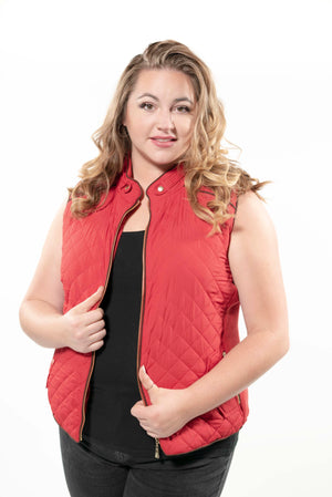 Quilted Padding Vest With Suede Piping Details Dark Navy