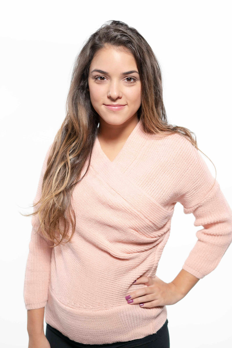 Off Shoulder Deep V-Neck Sweater Pink