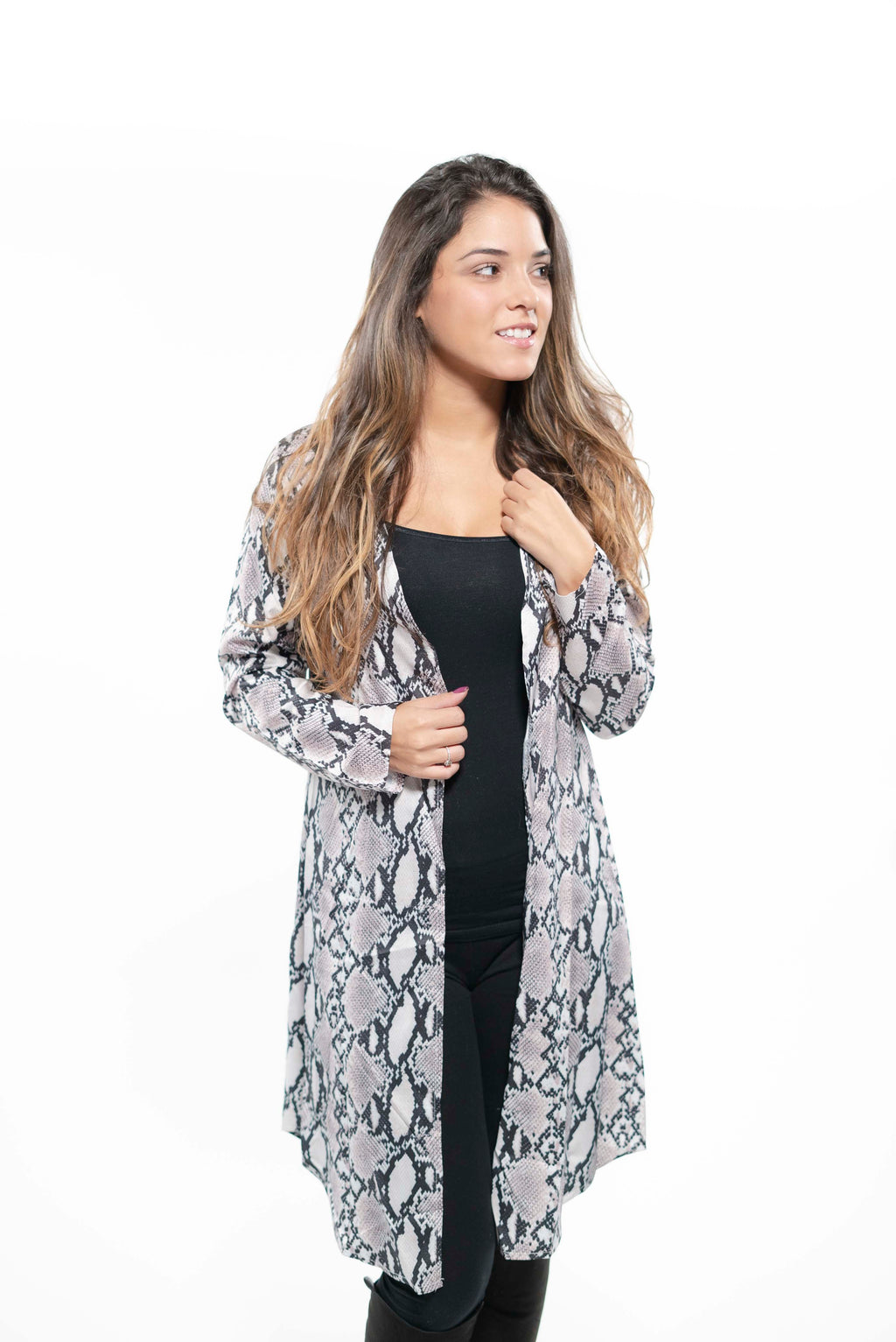 Long Snakeskin Lightweight Cardigan Blouse