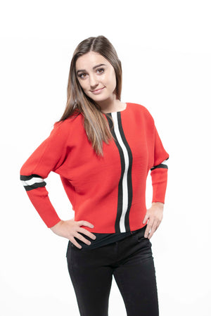 Racing Stripe Knit Sweater Red