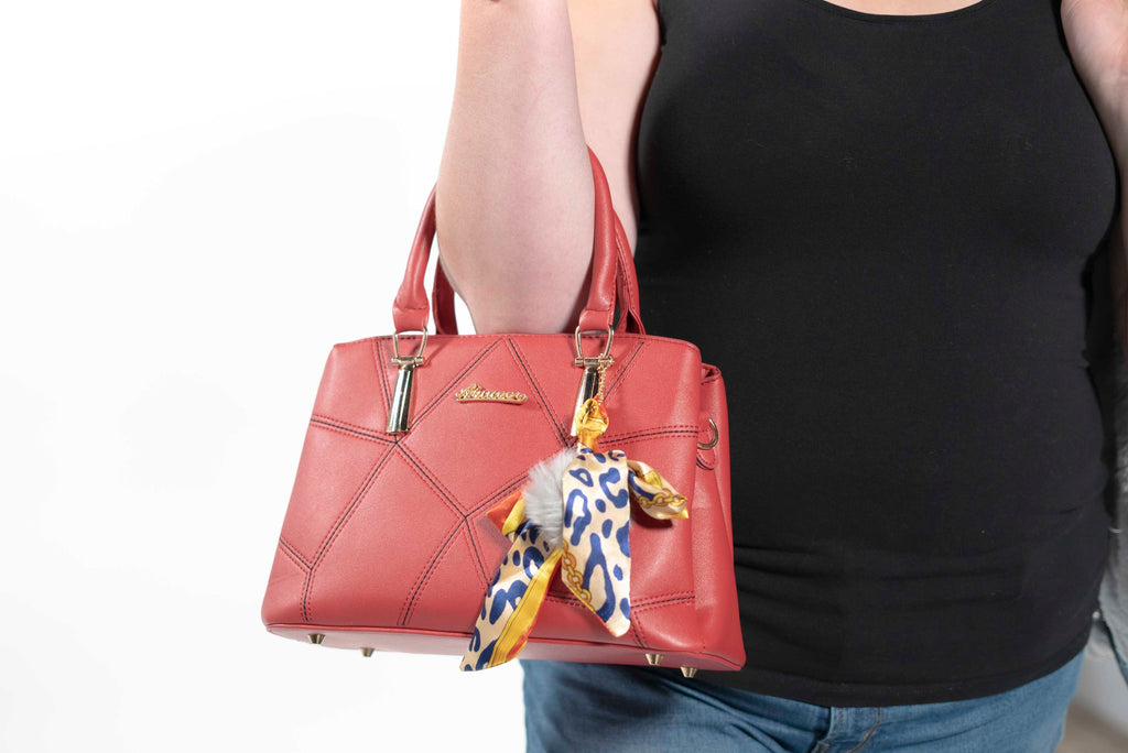 Geometric Leather Handbag Burgundy
