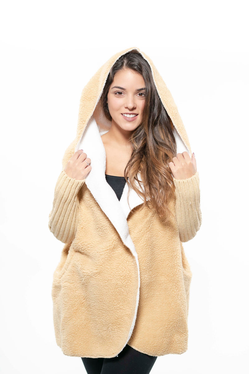 Cozy Hooded Cashmere Wool Cardigan Beige