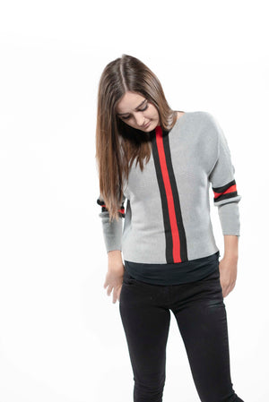 Racing Stripe Knit Sweater