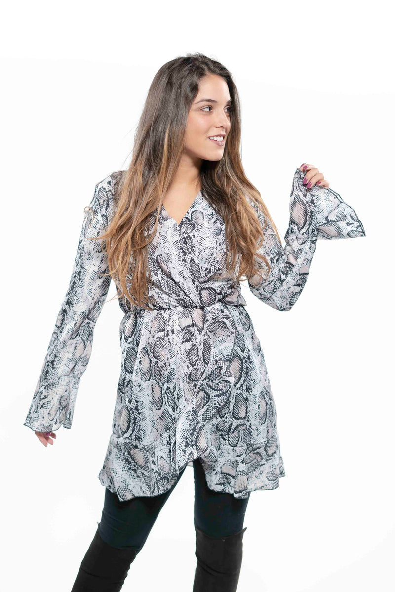Snakeskin Print Wrap Dress