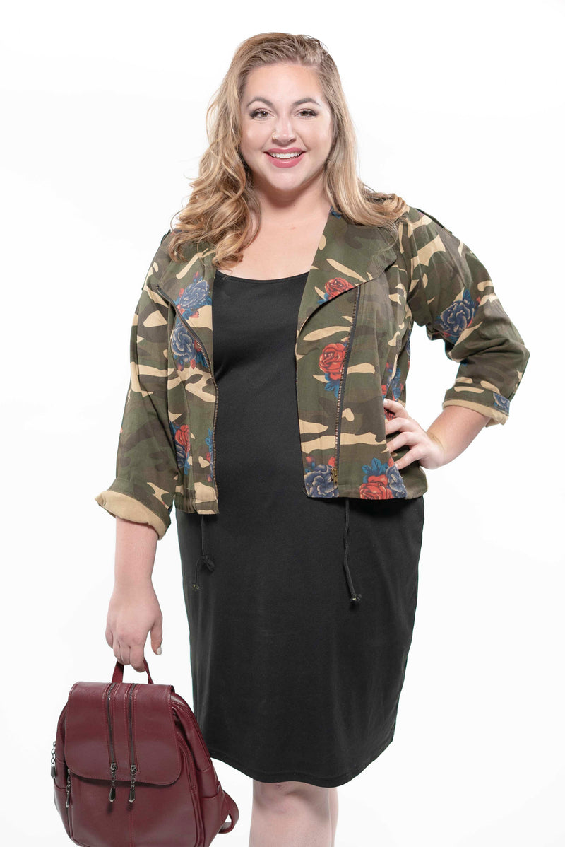 Plus Size Camouflage and Roses Zip Up Jacket