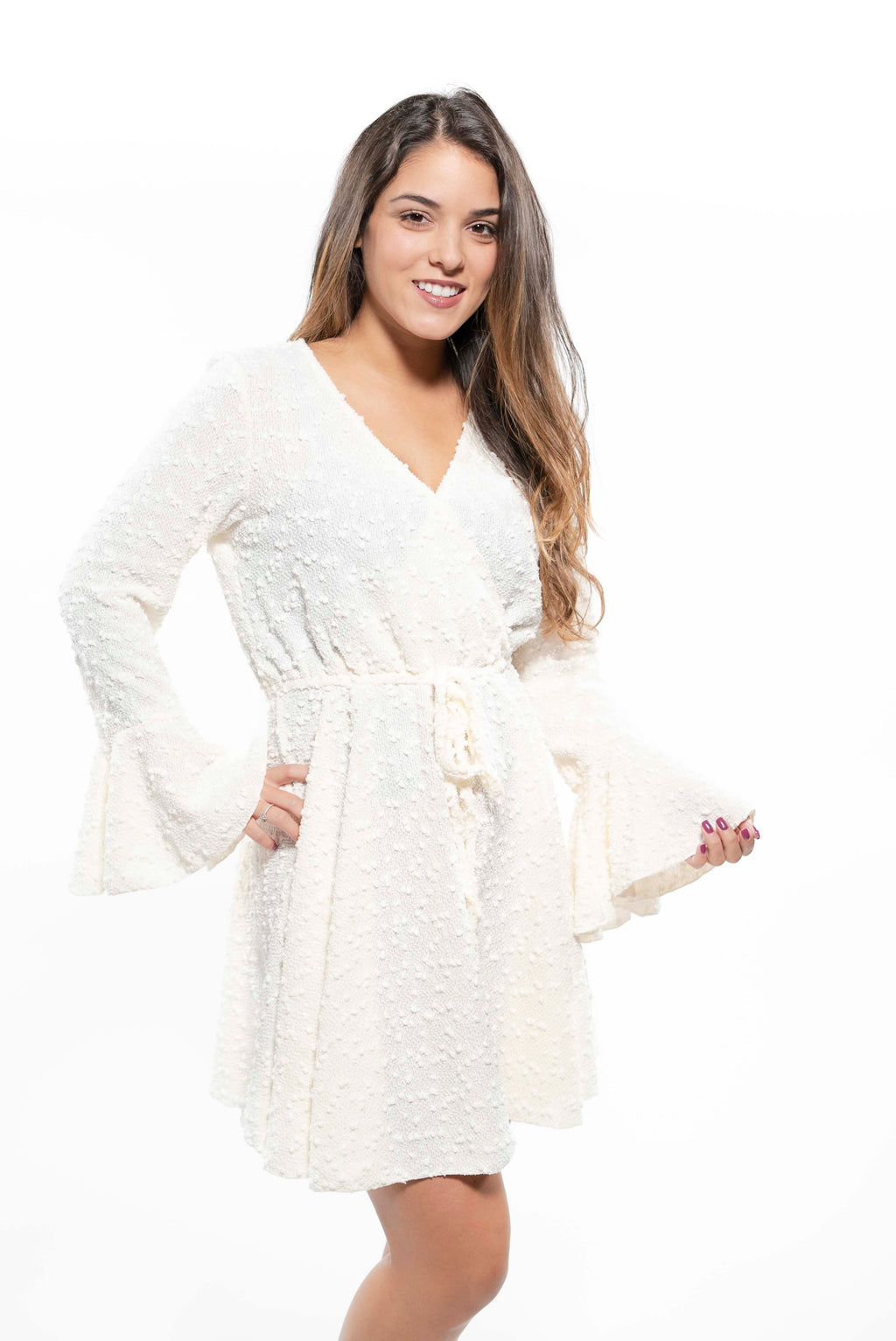 Boucle Knit Sweater Wrap Dress