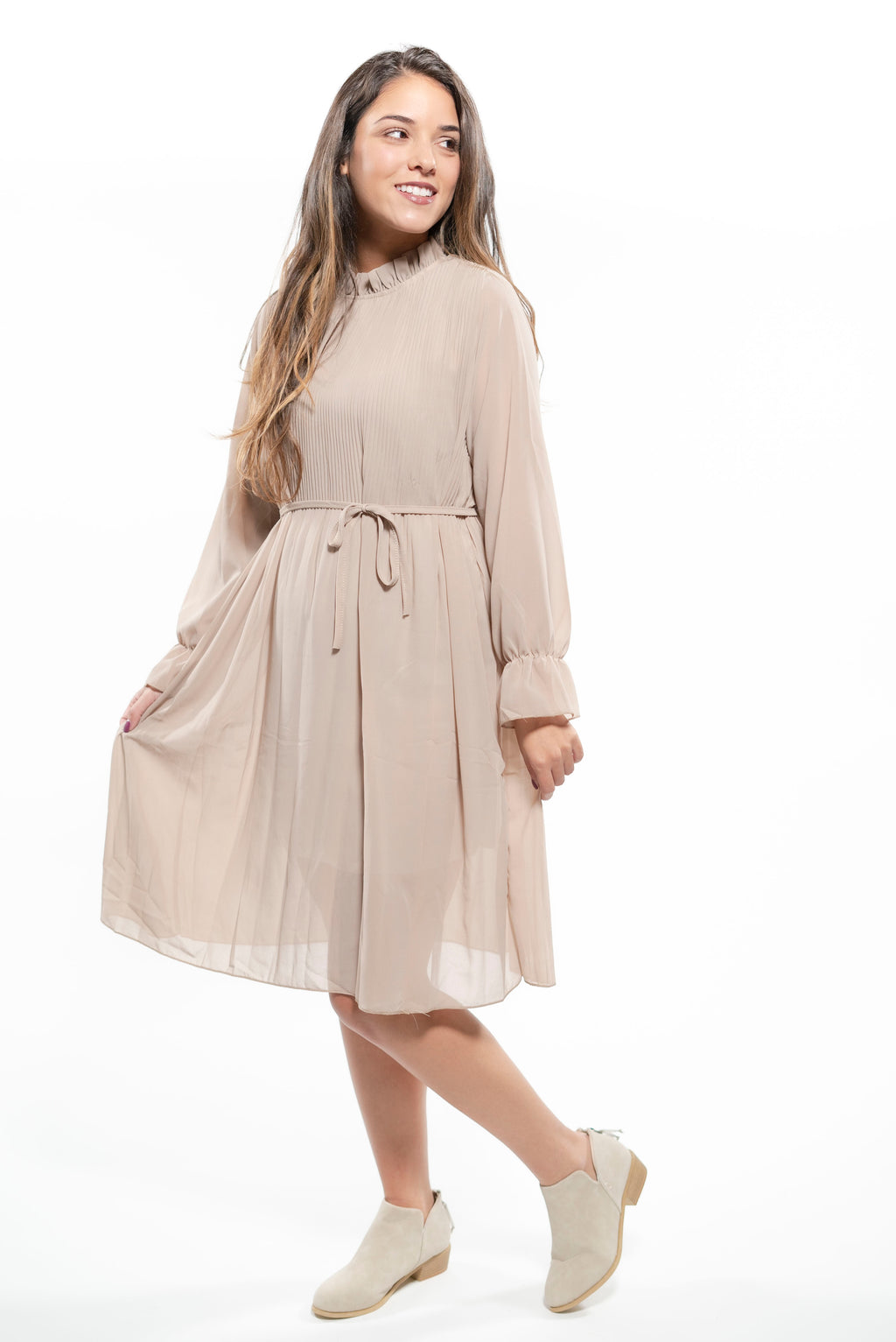 Long Sleeve Ruffle Trim Sweater Dress