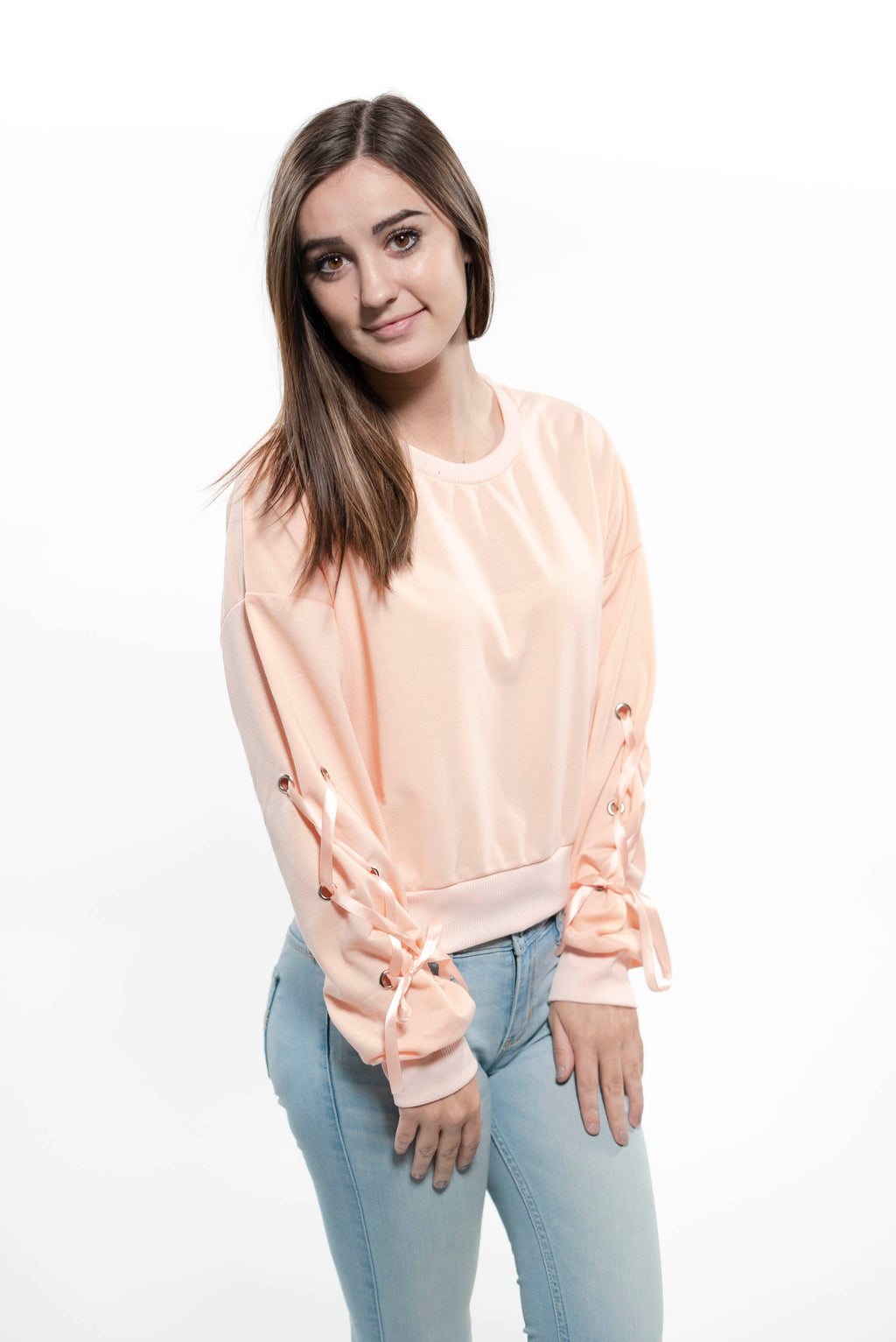 Eyelet Lace-Up Crop Sweatshirt