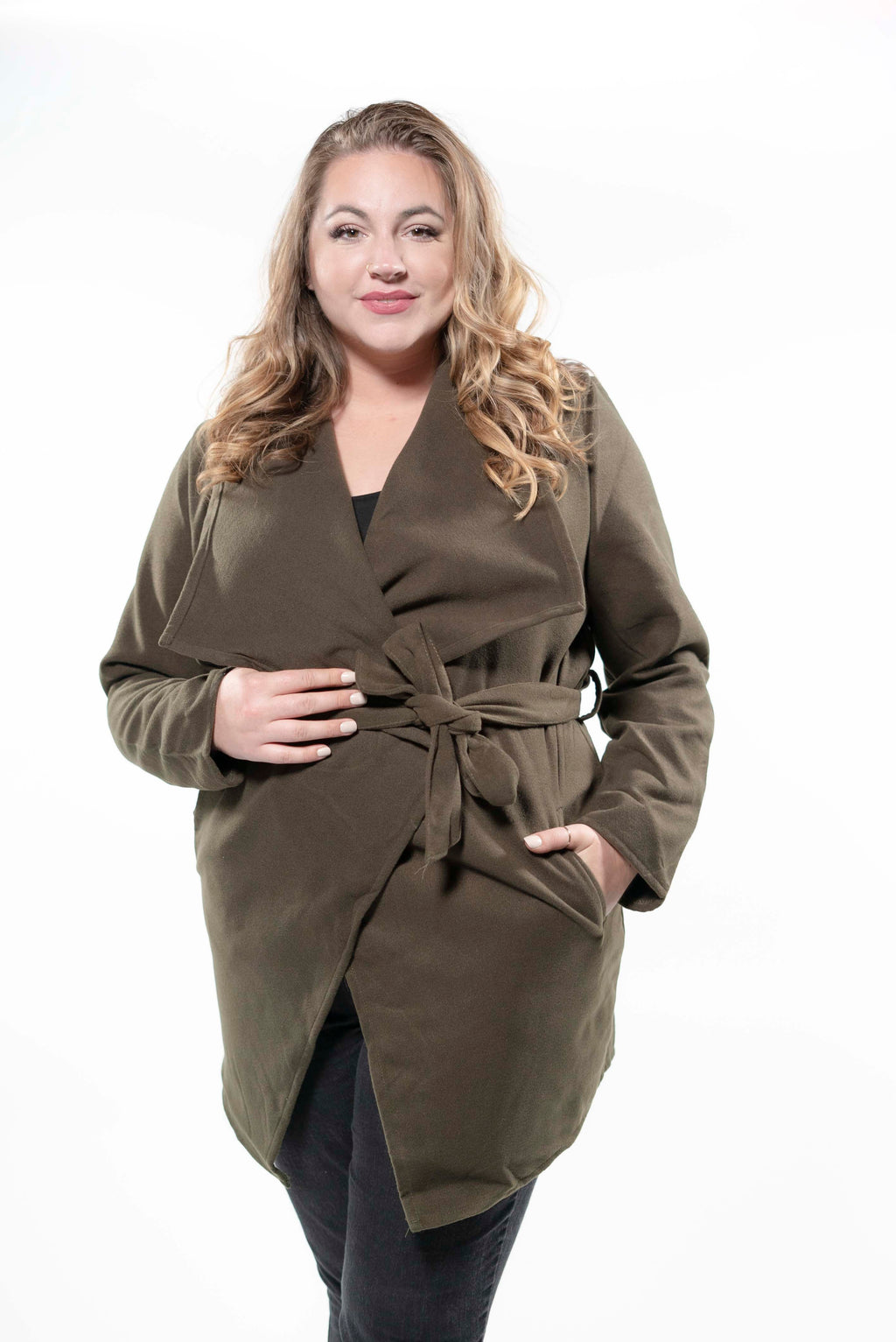 Plus Size Fleece Drape-front Jacket