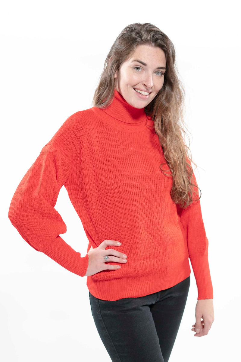 Bell Sleeve Knit Oversized Turtleneck Sweater